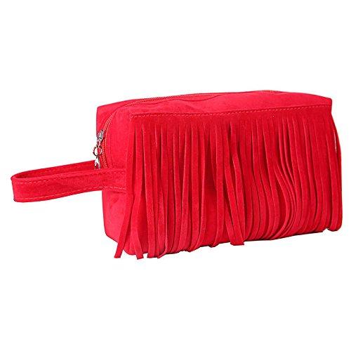 Zay Luay Inicio Inodoro Bolsa de Almacenamiento Kits de Viaje Organizador Bolsos Bolso de tasel Bolso de Maquillaje Bolsa de cosméticos (Color : Red)
