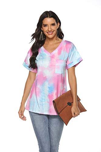 BWCX Camiseta con Efecto Tie Dye Degradado para Mujer, Bolsillo con Cuello En V, Camiseta Suelta De Manga Corta,Purple+Blue,M
