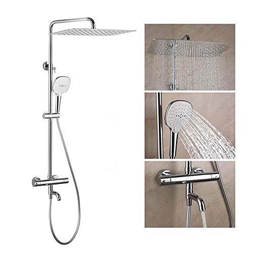 ZJN-JN Montar en la pared juego de ducha de cobre Temperatura constante Top aerosol de la ducha ducha la decoración del hogar Materiales de construcción de 20 mm x 300 superior cuadrada spray delicado