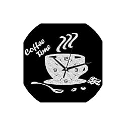 Asteria-Ashley 3D DIY Acrylic Wall Clock Modern Kitchen Home Decor Coffee Time Clock Cup Shape Wall Sticker Hollow Numeral Clock,Glitter Silver,L