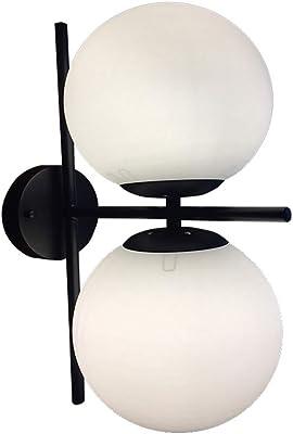 Nordic Minimalist Wall Light Double head Creative Sconces bar Living Room Bedside lamp Iron glass decoration