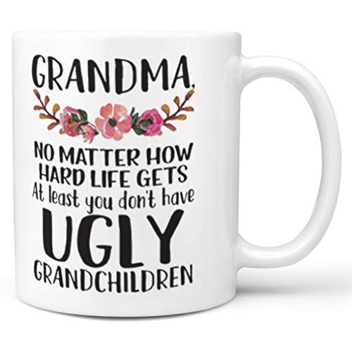 Taza de té XJ88 con asa de cerámica para niños, regalo divertido para mamá y niña, 11 oz, cerámica, Blanco, 311,84 g