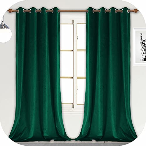 ZHAOFENG Emerald Green Velvet Curtains with Grommet, Blackout SoftLuxury ThickSunlight Dimming Heat InsulatedPrivacy ProtectVelour Drapes for Livingand Dining Room, 2 Panels, W52 x L108 Inches