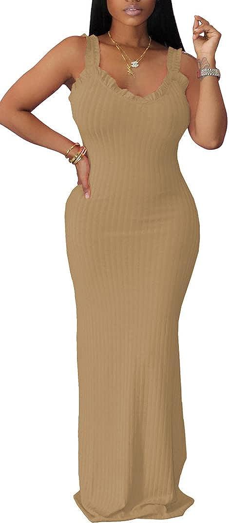 Maxi Dresses for Women Summer Casual Sleeveless Ruffle Sundresses Side Split Bodycon Beach Boho Dress