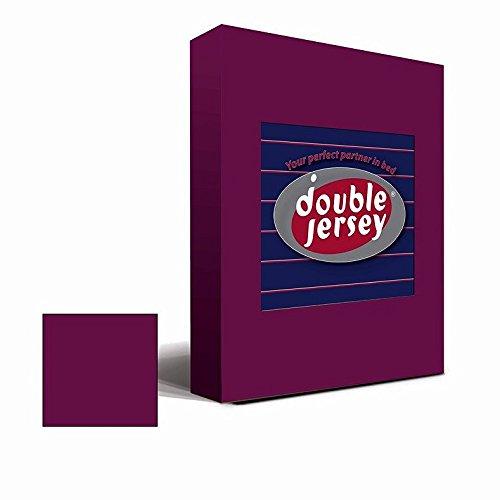 #9 Double Jersey Jersey Spannbettlaken, Spannbetttuch, Bettlaken, 160x200x30 cm, Burgundy - 3