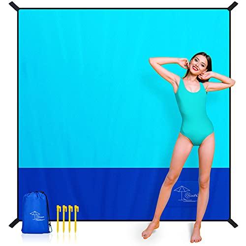 OCOOPA Stranddecke sandfrei super groß 200x210 cm, sanddicht wasserdicht, weiches bequemes langlebiges Material, breite Streifen, leicht kompakt für Picknick, Urlaub (Navy blau, 200 x 210 cm)