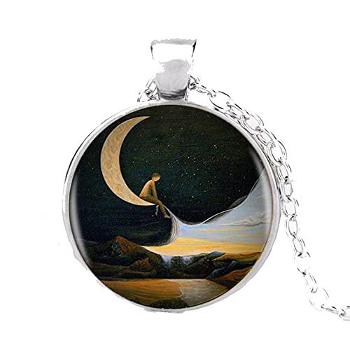 Yin Yang Moon Colgante Redondo Collar Largo Chian Declaración Moda Collar para Mujer