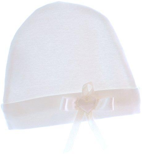 La Bortini Baby Mütze Mützchen Cap Mit Schleife Creme Baumwolle (KU 40-42cm.)