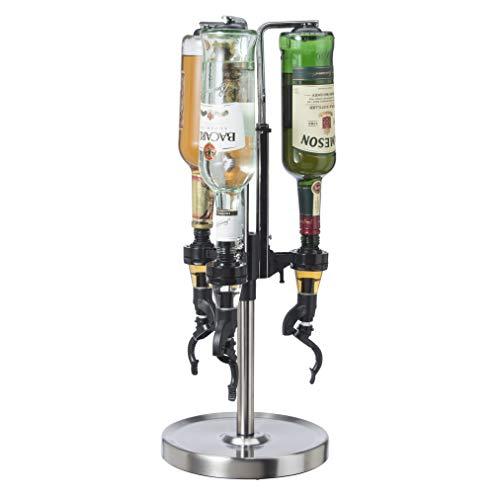 Oggi Liquor Dispenser, 3 Bottle, Stainless Steel