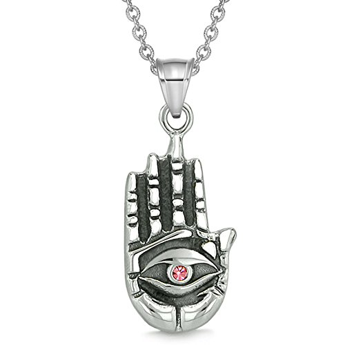 All Seeing and Feeling Buddha Eye Hamsa Hand Magic Powers Amulet Pink Crystal Pendant 22 inch Necklace