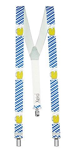 Xeira Bretelle uomo e donna con 3 clip e retro in vera pelle - Made in Germany (Standard, Baviera e birra)