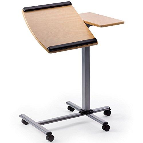 Heim & Büro Multifunktions Beistelltisch | 3-Fach Höhenverstellbar von 71-91 cm | 5 Lenkrollen | schwenkbare Tischplatte