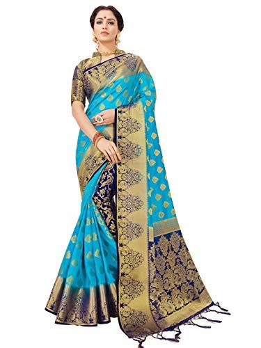 Sarees for Women Banarasi Art Silk Saree l Indian Ethnic Wedding Diwali Gift Sari with Unstitched Blouse Turquoise