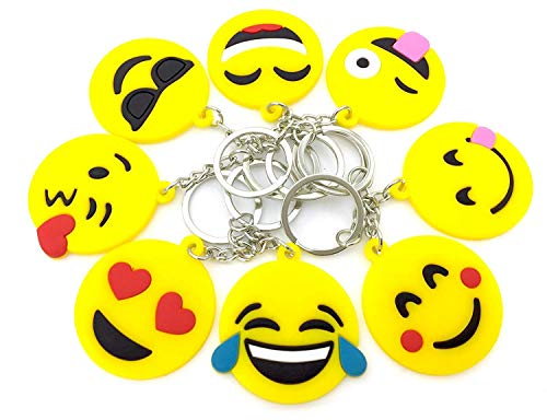 Emoji Keychains, OHill 40 Pack Top 8 Popular Emoji Emoticons Emoji Keyrings Emoji Party Favor Supplies Summer Camp Prizes Carnivals Classroom Rewards Party Favor Bags
