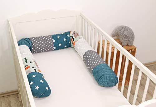 Baby Nestschlange | Made in EU | ÖkoTex 100 | Schadstoffgeprüft | Antiallergisch | Baby Bettumrandung | Bettschlange | Waldtiere Petrol | 200 x 13 cm | ULLENBOOM ®