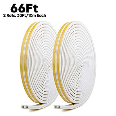 Door Weather Stripping,Insulation Seal Strip for Doors and Windows,Self-adhisive Foam Door Seal Strip,Soundproof Seal Weather Strip Gap Blocker Epdm,Total 66Ft Long(2 Rolls,33Ft/10m Each,White)
