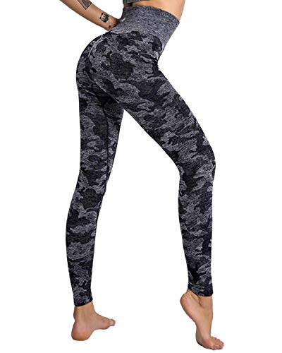Damen Sport Leggings Lange Capri Yoga Hose Sporthose Leggins Sporttight mit Hohe Taille Bauchkontrolle