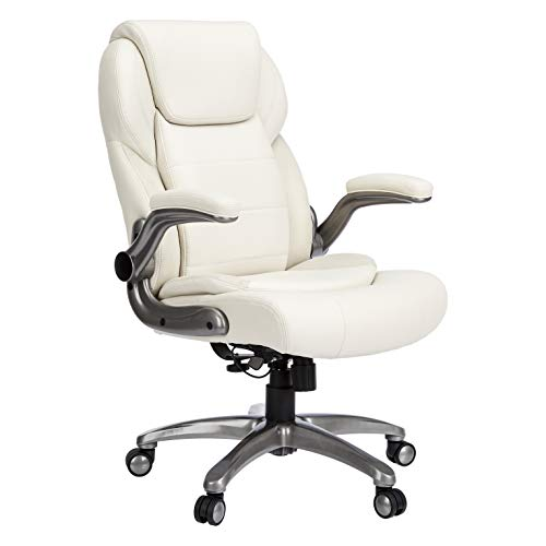 AmazonBasics Extra Comfort High-Back Leather Executive Chair with Flip-Up Arms and Lumbar Support, Cream