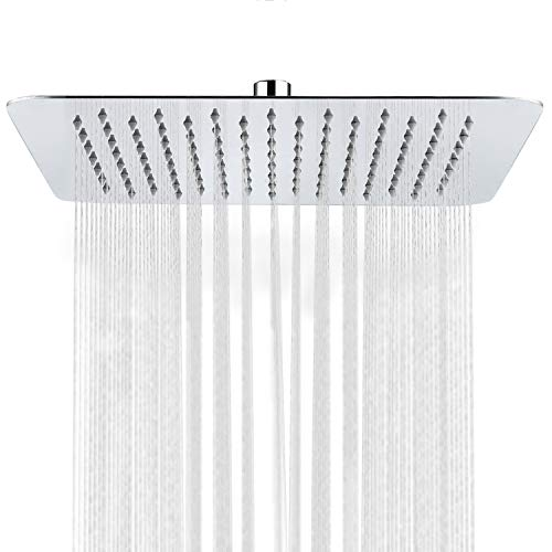 SR SUN RISE Luxury 12 Inch Large Square Stainless Steel Shower Head High Pressure Rainfall Showerhead Ultra Thin Water Saving Polished Chrome 2.5 Gpm
