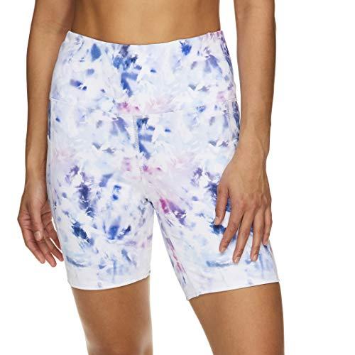 Gaiam Damen Yoga-Shorts – High Rise Performance Spandex Kompression Workout & Training Shorts mit Handytasche - Weiß - Groß
