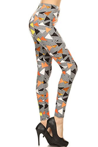 R819-OS Triangle Mania Printed Fashion Leggings, One Size