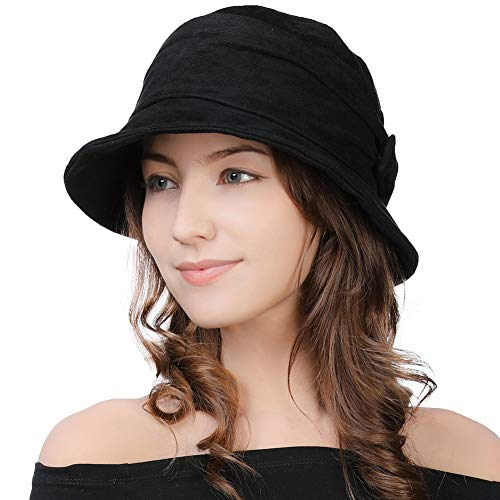 Womens 1920 Vintage Fedora Bowler Cloche Bucket Church Derby Party Hat Fall Winter Floppy Ladies Black