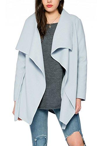 Kendindza Damen Mantel Trenchcoat mit Gürtel OneSize Lang und Kurz (One Size, Hellblau Kurz)