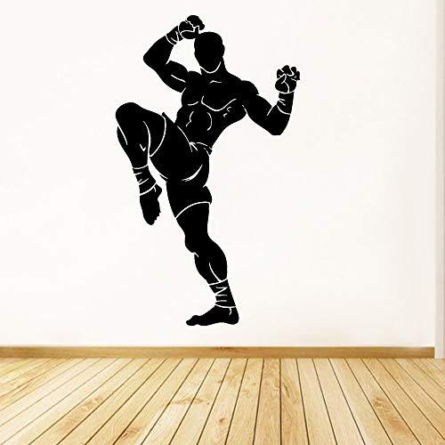 Blrpbc Adhesivos Pared Pegatinas de Pared Deporte Atleta Luchador Artes Marciales Kickboxing Vinilo extraíble Gimnasio Hombre habitación decoración Moderna para el hogar 114x66cm