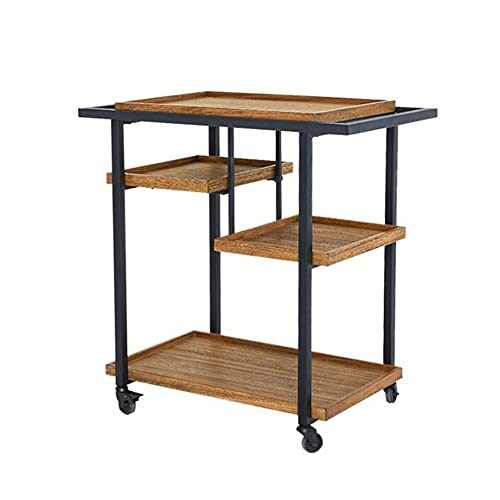 XIAOLIN Multi-layer Side Table, Movable Small Coffee Table Simple Storage Rack Sofa Cabinet Creative Side End Table Trolley With Wheels For Living Room