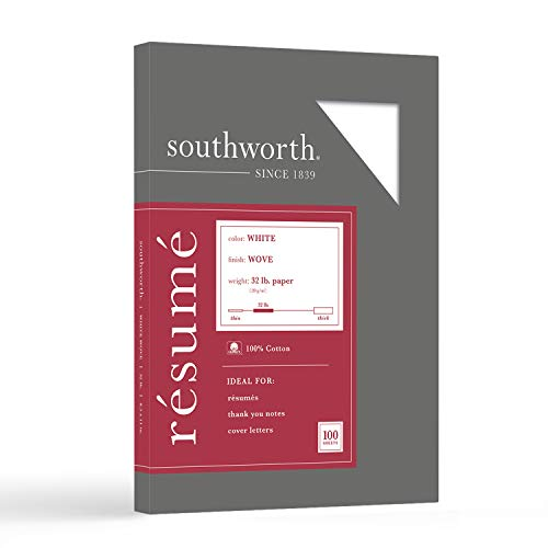 Southworth Exceptional Resume Paper, 100% Cotton, 32 lb, White, 100 Count (RD18ICF)