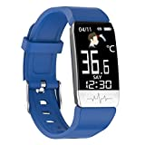 FFF8 Pulsera Inteligente Tempurature Tempurature Heart Rate Monitor Detectores De Dormir En Tiempo Real Relojes Deportivos De Fitness (Color : Blue)