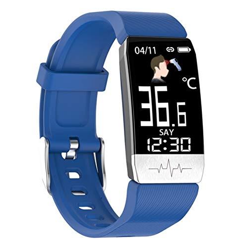 LYB Pulsera inteligente T1s más reciente+PPG temperatura corporal fitness presión arterial impermeable control de música banda inteligente deporte (color: azul)