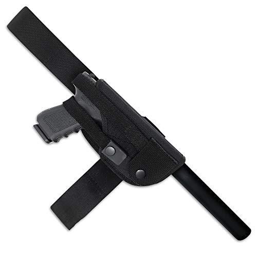 Leg Gun Holster with Suppressor Opening - Black Nylon  ...