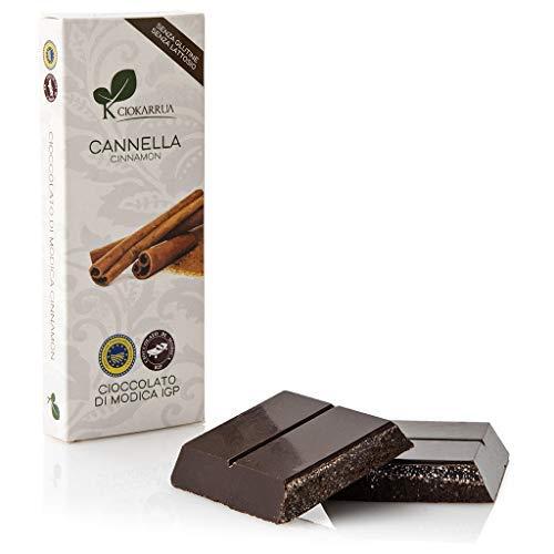 Ciokarrua | Cioccolato di Modica Cannella IGP | Cioccolato Grezzo Lavorato Modica | Tavoletta Cioccolato Senza Lattosio | Cioccolata 1 Tavoletta - 100 Grammi