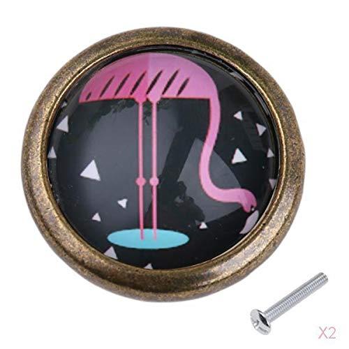 PETSOLA 2 X Retro Flamingo Knob Cabinet Door Ward Armario Cajón Bin Pull Handle Decor # 3