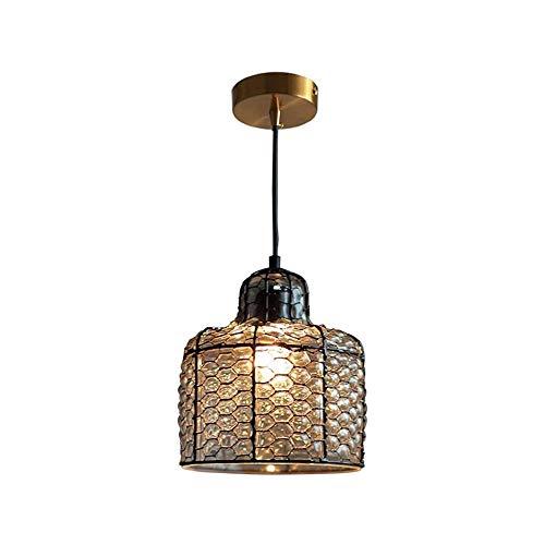 COCNI 1 luz Country Retro Lámpara Colgante Candelabros de Cobre Antiguos Pantalla de Cristal Ajustable Luces de Techo Iluminación de Granja Moderna Luces Colgantes