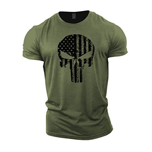 GYMTIER - Camiseta de culturismo para hombre, diseño de calavera de EE. UU. Verde verde L