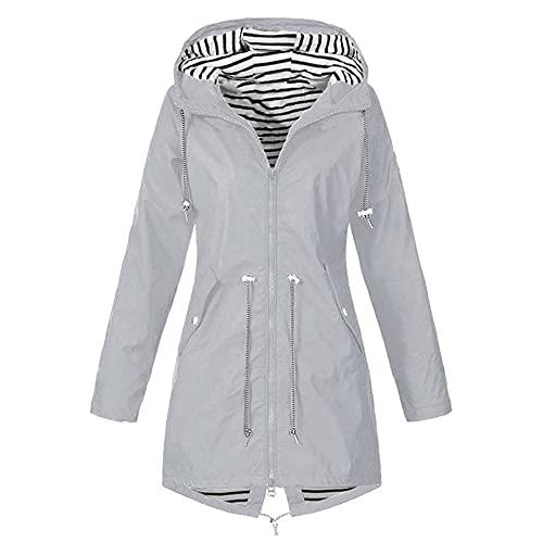 Mujeres sólido cremallera manga larga con capucha impermeable cortavientos señoras al aire libre, gris, L
