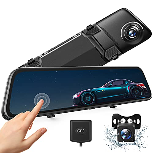 2.5K Mirror Dash Cam w/ 12' IPS Full Touch Screen, Voice Control, GPS Tracking, Waterproof Backup Rear View Camera