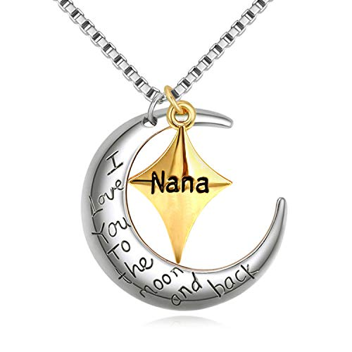 PHOCKSIN I Love You to The Moon and Back Nana Necklace Star&Moon Pendant Nan Jewellery Gifts 18' Box Chain for Mothers Day Present