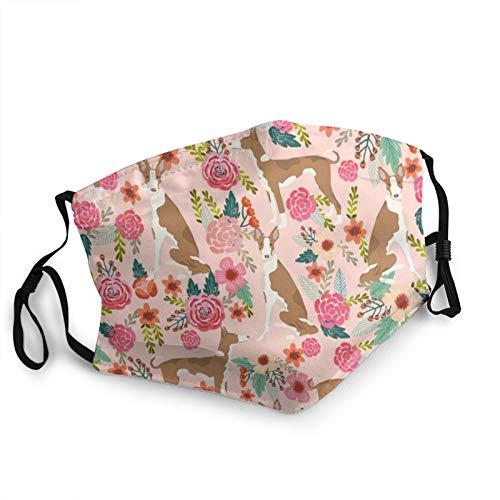 Anti-Staub Wiederverwendbare waschbare atmungsaktive Unisex Tuch Gesicht Ibizan Hound Floral Pure Breed Dog Pink Face Protection Cover Sturmhaube Bandanas für Outdoor...