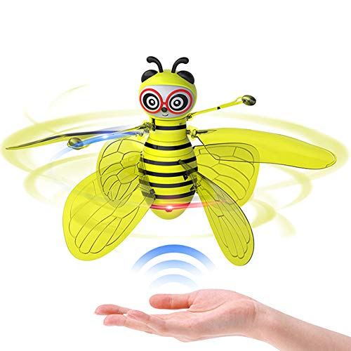 GCDN Fliegende Biene Infrarot Induktionsflugzeug Drohne Hubschrauber mit Shinning LED-Licht Handgesteuertes Flugspielzeug für Kinder Indoor/Outdoor Elektronisches Nettes Spielzeug
