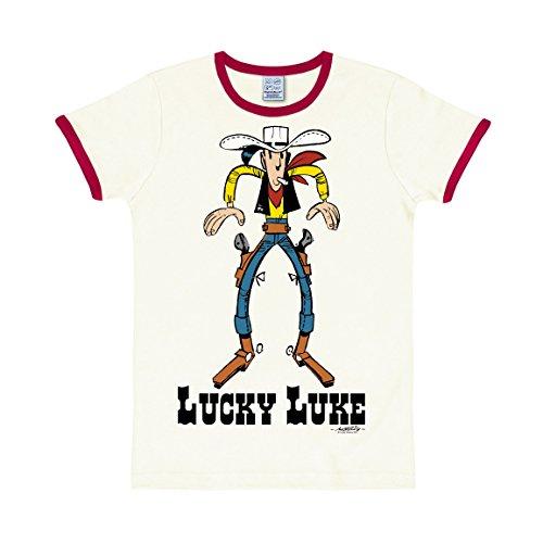 Logoshirt Comic - Cowboy - Lucky Luke - Showdown - Slim-Fit - Ringer - T-Shirt - Altweiß - Lizenziertes Originaldesign, Größe L