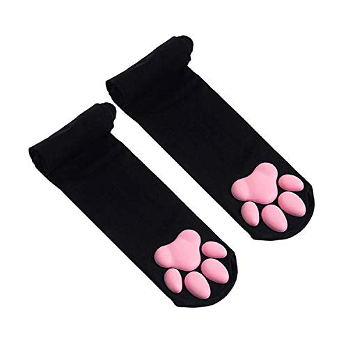 YALANK Womens Velvet Cat Meat Cushion cos Thigh high Socks,23.6 inches-74.8 inches stretchableVelvet Lolita Overknee Socks,3D Silicone cat Meat Cushion (Pink Cushion Black Bottom)