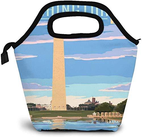 Washington Dc Travel Art Washington Monument Poster Insulated Lunch Bag Custom Bento Box Picnic Cooler Portable Handbag Lunch Tote Bag for Women Girl Men Boy