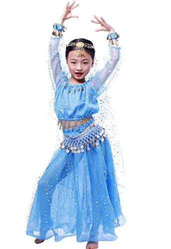 Astage Niñas Manga Larga De Danza Ropa Faldas Disfraz De Elegent Conjuntos Azul Cielo L