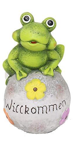 Benera Frosch auf Stein Willkommen Figur für Garten und Haus Eingang Dekoration aus bemaltem Terrakotta
