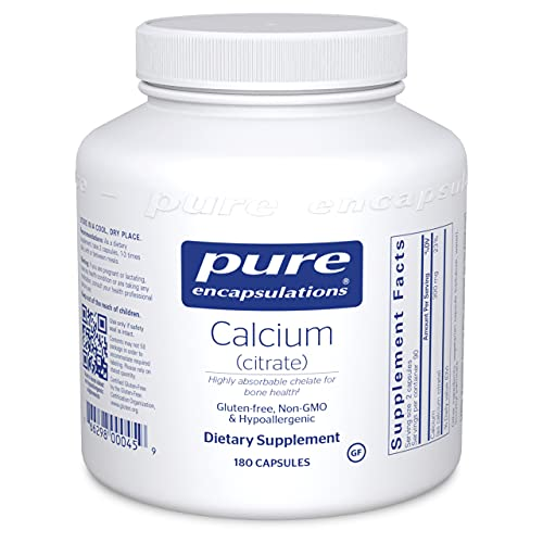 Pure Encapsulations Calcium (Citrate)   Supplement for Bones and Teeth, Colon Health, and Cardiovascular Support*   180 Capsules