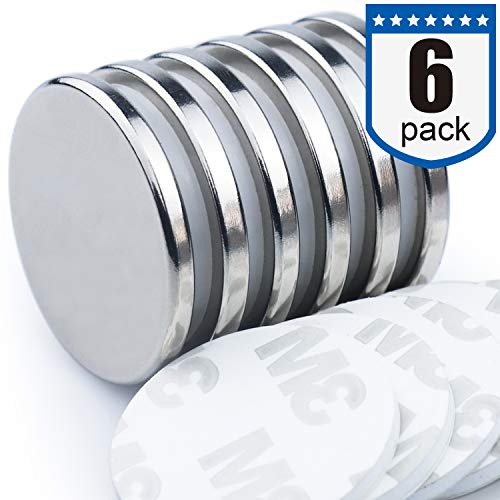 DIYMAG Powerful Neodymium Disc Magnets with Double-Sided Adhesive, Strong Permanent Rare Earth Magnets for Fridge, DIY, Building, Scientific, Craft, and Office Magnets, 1.26 inch Diameter, Pack of 6