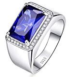 BONLAVIE Halo Engagement Rings Radiant Cut Created Sapphire Pure 925 Sterling Silver Ring for Men Size 8